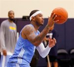 Denver Nuggets forward Carmelo Anthony runs a fast break on the first day of NBA basketball camp in Denver on Tuesday, Sept. 28, 2010. AP Photo/Ed Andrieski .........