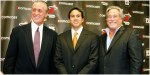 Pat Riley (l), Erik Spoelstra , team head coach (center) and right ,team owner , Micky Arison . Here the three are seen after the formal announcement had been made that Riley would return to the front office of the Miami Heat to resume his duties as President of Basketball Operations and General Manager of the team. Spoelstra would assume the position as coach of the Miami Heat. photo appears courtesy of Associated Press / Mark Thomas ..............
