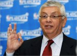 "NBA commissioner David Stern gestures as he speaks to reporters during a news conference Monday. Boston's Paul Pierce and Washington's DeShawn Stevenson were each $25,000 by the NBA for making ""menacing gestures"" in playoff games this weekend. courtesy of the Boston Globe/AP / Greg Smith ...... (circa Apr 2008)"