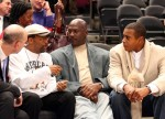 Spike Lee, Co-owner of the Charlotte Bobcats Michael Jordan and Ahmad Rashad talk courtside at the New York Knicks game against the Charlotte Bobcats November 5, 2008 at Madison Square Garden in New York City . Getty Images/ Neil Miller-Poole .....