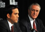 Head coach Erik Spoelstra (L) and President Pat Riley (R) of the Miami Heat talk during a press conference after a welcome party for new teammates LeBron James, Dwyane Wade, and Chris Bosh at American Airlines Arena on July 9, 2010 in Miami, Florida. Getty Images/ Doug Benc ....