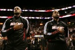 Miami - October 5th 2010; LeBron James (6) and Dwyane Wade (3) of the Miami Heat prepare to play against the Detroit Pistons on October 5, 2010 at American Airlines Arena in Miami, Florida. NBAE/Getty Images/ Issac Baldizon ....
